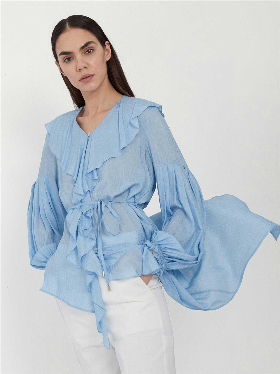 Asymmetric Blue Blouse