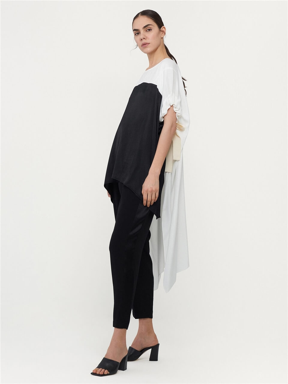 Ecru-Black Asymmetrical Blouse