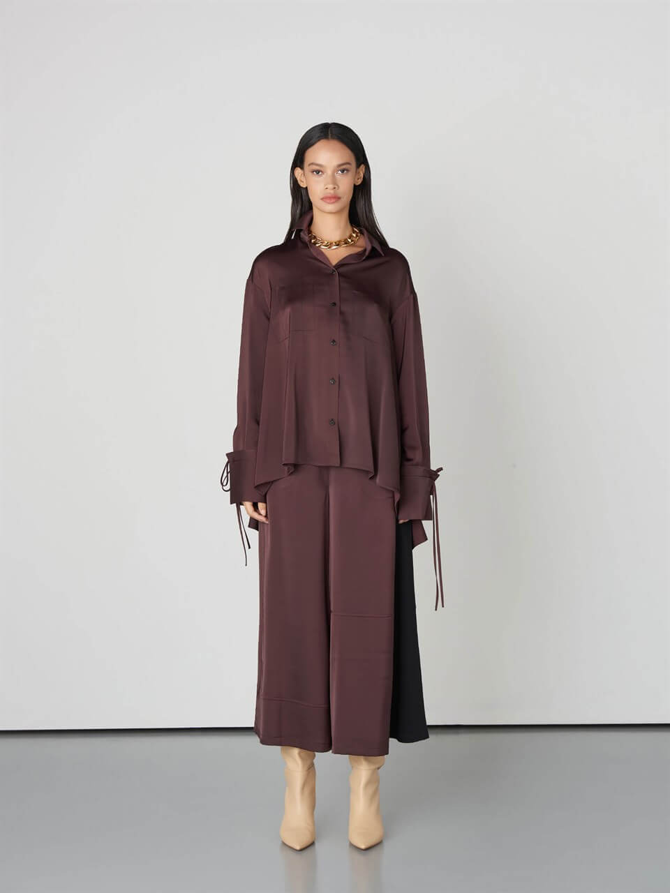 Wide Leg Damson Color Pants