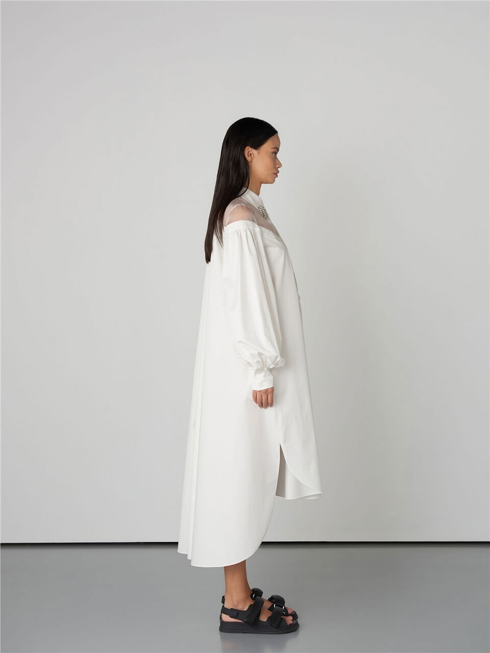 MARKABlouse{}White Shirt DressQW2144073
