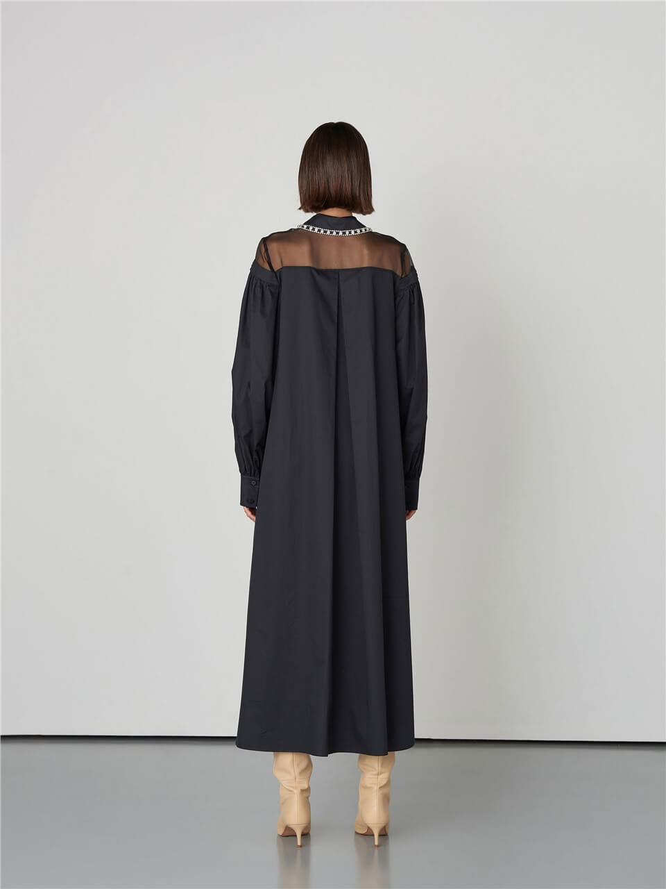 MARKABlouse{}Black Shirt DressQW2144074
