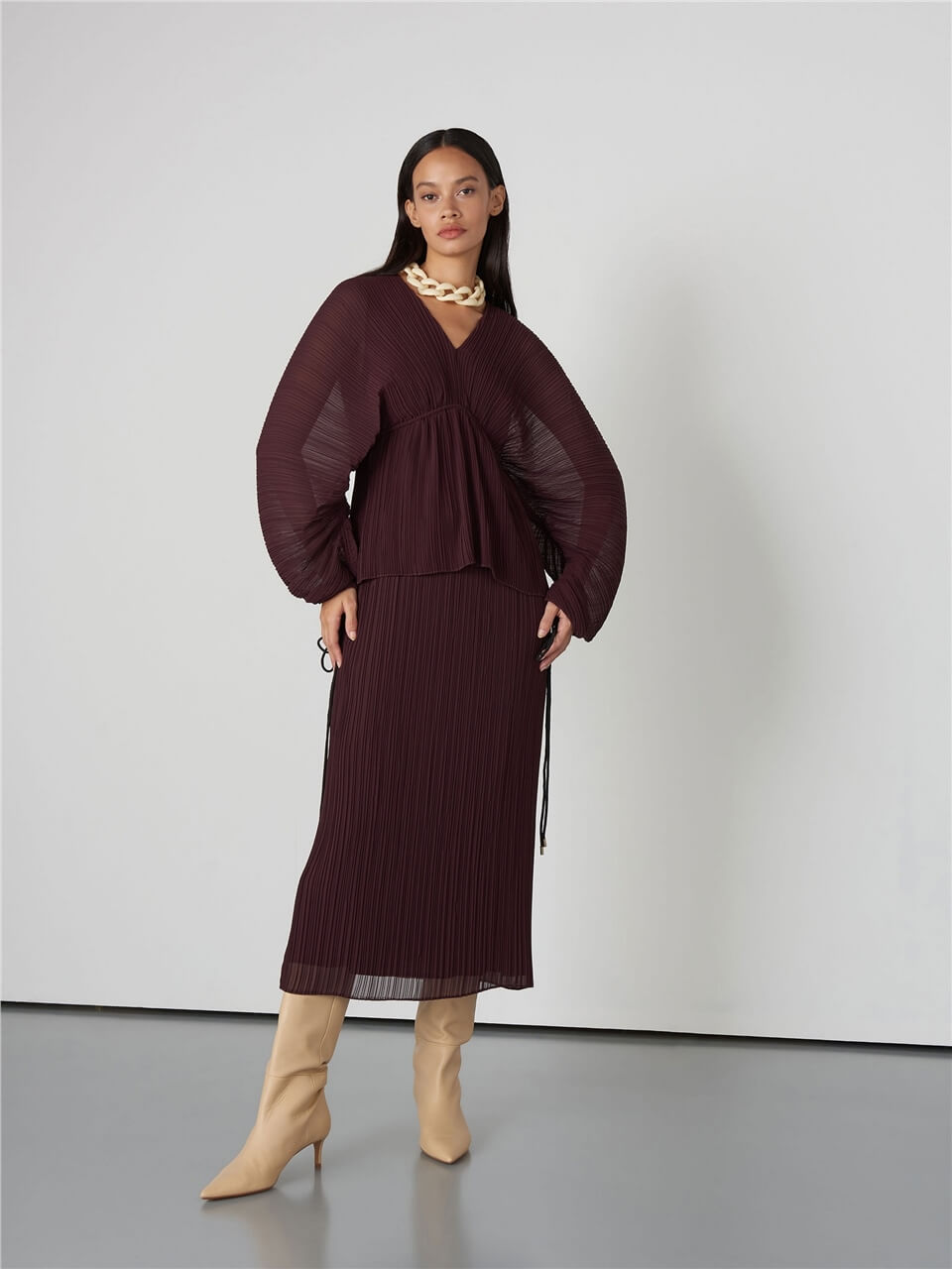 Pleated Damson Color Dress