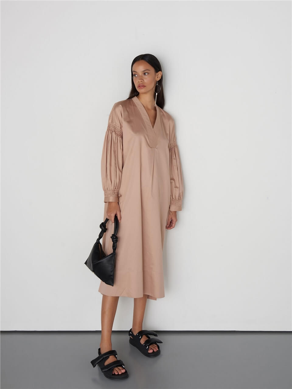 Long Sleeved Powder Colored Cotton Dress