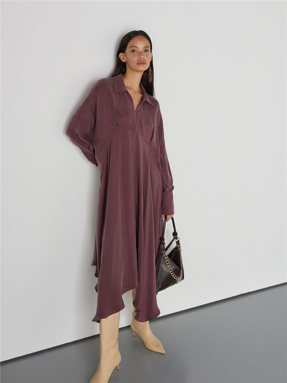 Long Sleeved Damson Color Dress