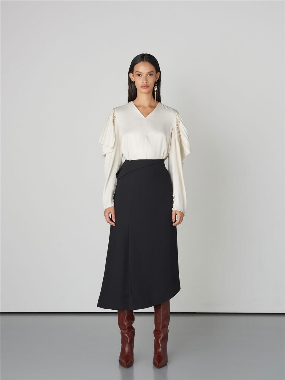 Asymetric Pleated Black Skirt
