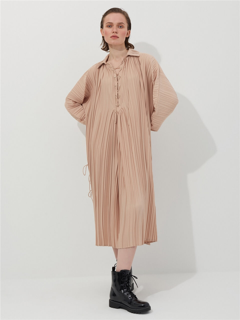 Pleated Powder Color Dress
