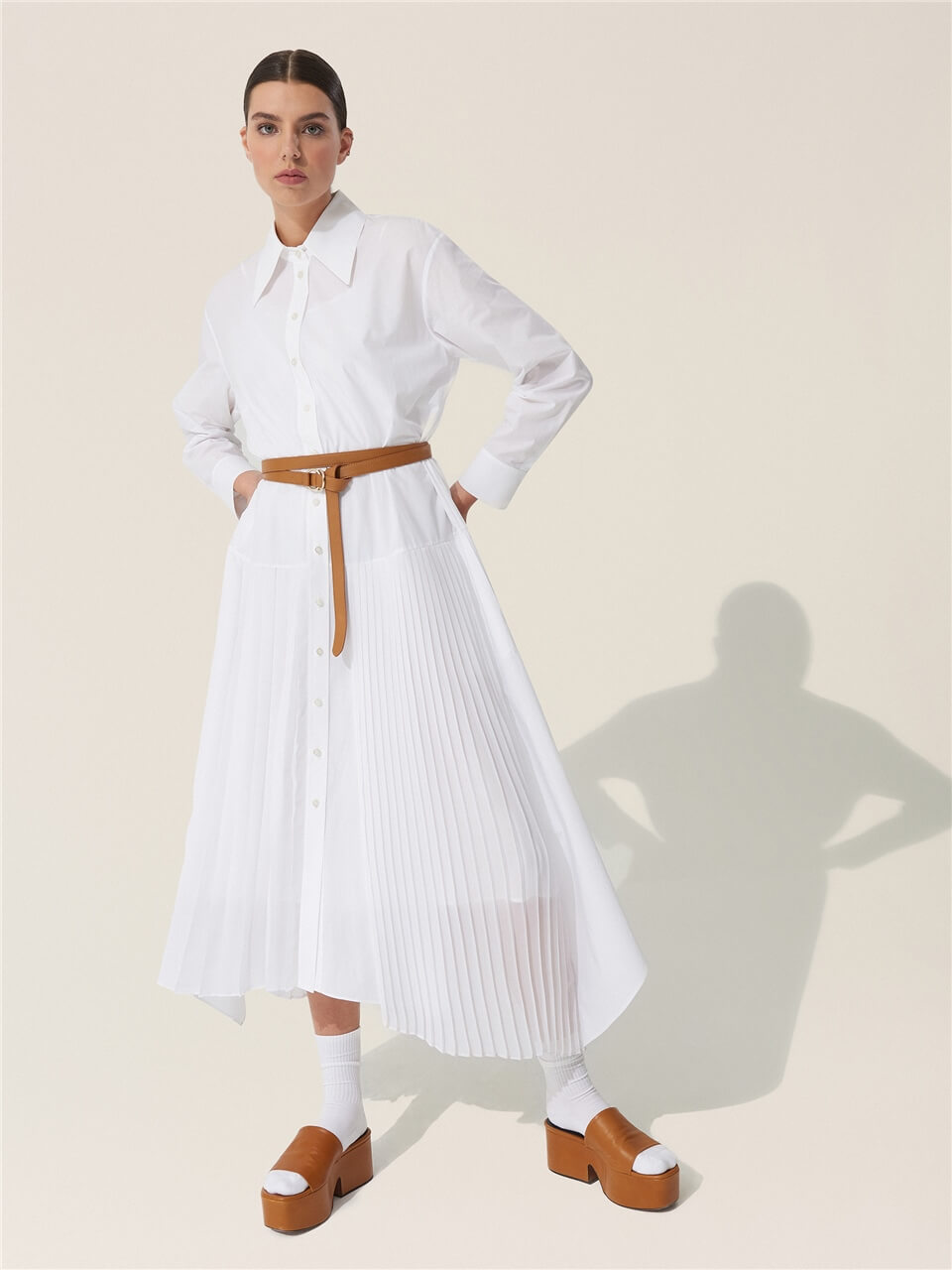 Pleat and Belt Detailed Cotton Dress